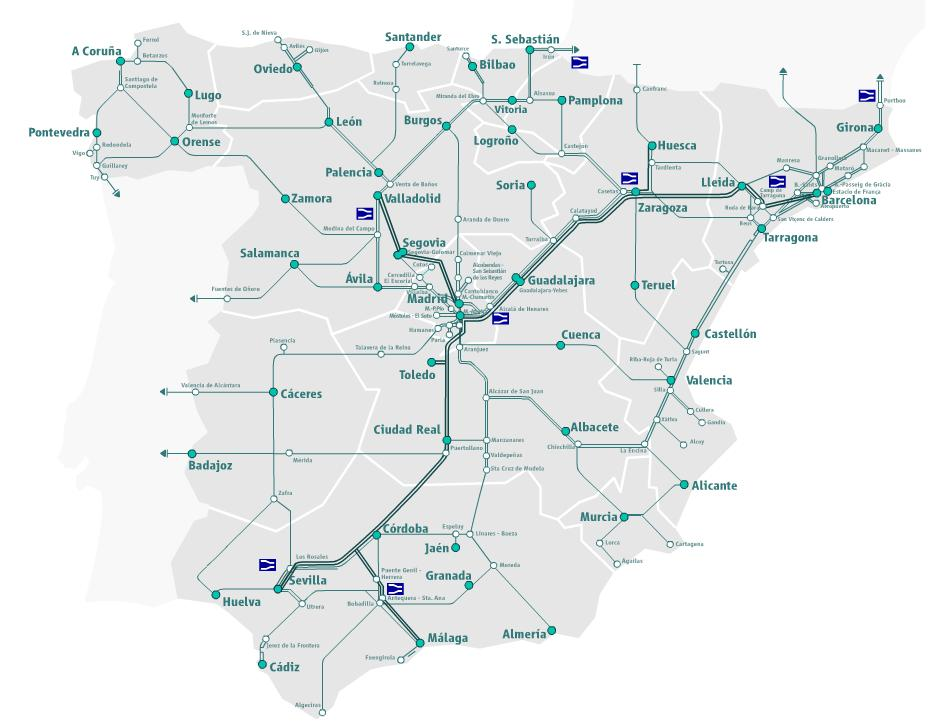Train travel in Spain Polrail Service – Train Travel In Spain Map